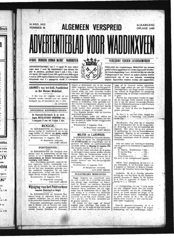 Advertentieblad Waddinxveen 1915-08-14
