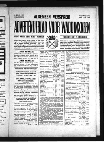 Advertentieblad Waddinxveen 1915-12-11
