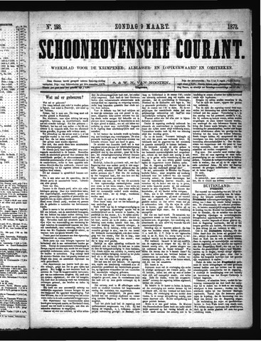 Schoonhovensche Courant 1873-03-09