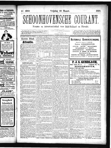 Schoonhovensche Courant 1918-03-22