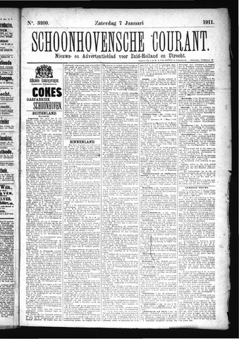 Schoonhovensche Courant 1911-01-07