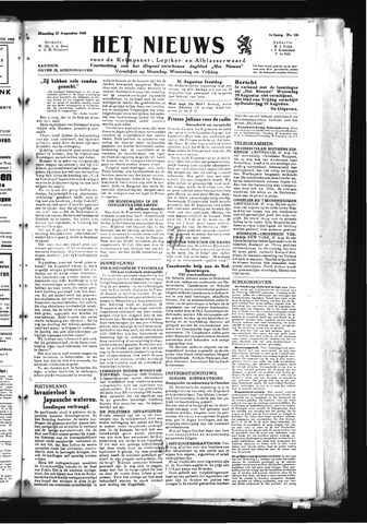 Schoonhovensche Courant 1945-08-27