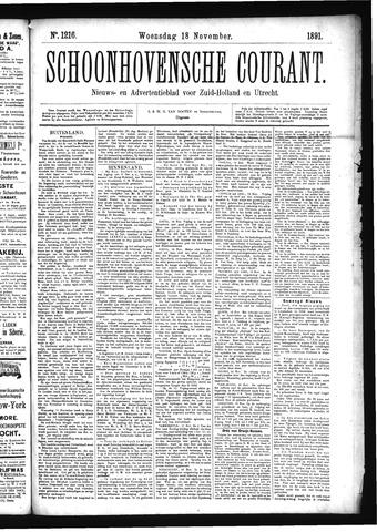 Schoonhovensche Courant 1891-11-18