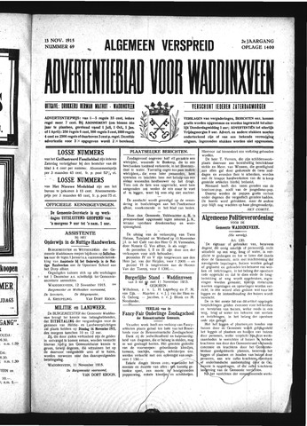 Advertentieblad Waddinxveen 1915-11-13