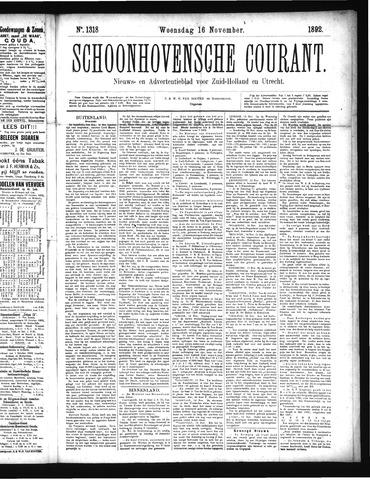 Schoonhovensche Courant 1892-11-16