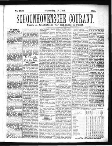 Schoonhovensche Courant 1907-06-19