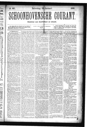 Schoonhovensche Courant 1886-01-23