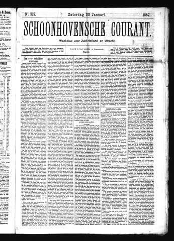 Schoonhovensche Courant 1887-01-22