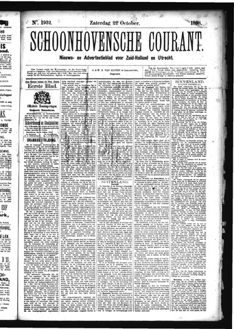 Schoonhovensche Courant 1898-10-22