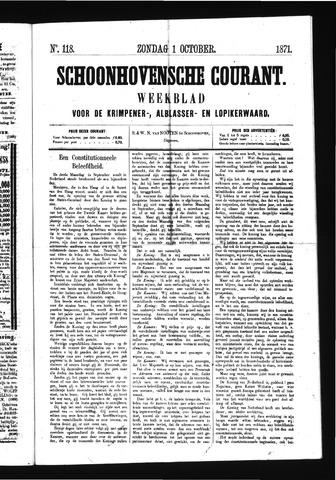 Schoonhovensche Courant 1871-10-01