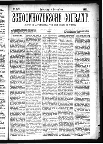Schoonhovensche Courant 1893-12-09