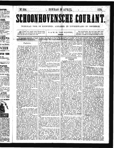 Schoonhovensche Courant 1874-04-26
