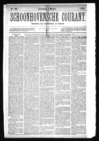Schoonhovensche Courant 1884-03-01