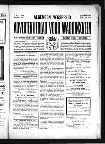 Advertentieblad Waddinxveen 1915-11-27