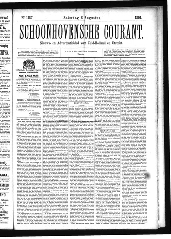 Schoonhovensche Courant 1891-08-08