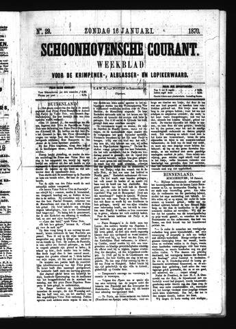 Schoonhovensche Courant 1870-01-16