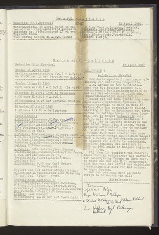 Bulletins (vnl. opstellingen) 1950-04-12