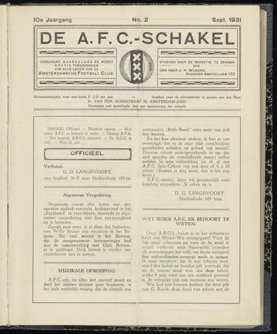 Schakels (clubbladen) 1931-09-01