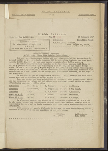 Bulletins (vnl. opstellingen) 1947-02-13