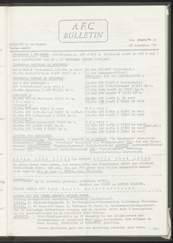 Bulletins (vnl. opstellingen) 1974-11-20