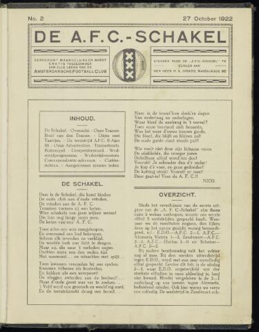 Schakels (clubbladen) 1922-10-27
