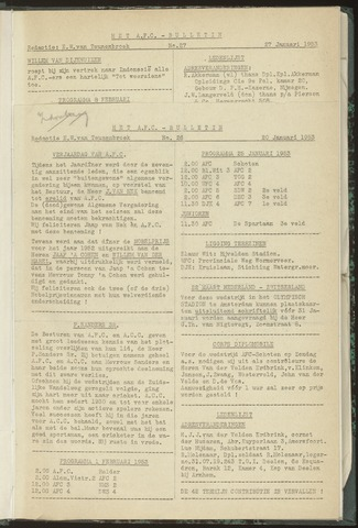 Bulletins (vnl. opstellingen) 1953-01-20