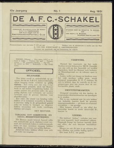 Schakels (clubbladen) 1931-08-01