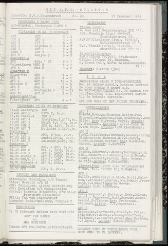 Bulletins (vnl. opstellingen) 1961-02-14