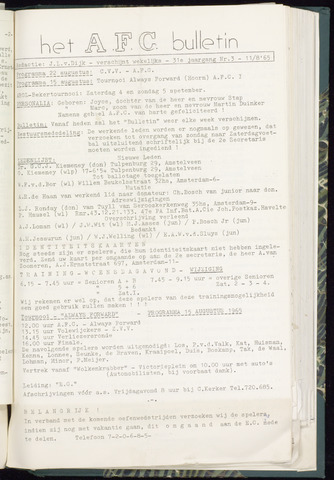 Bulletins (vnl. opstellingen) 1965-08-11