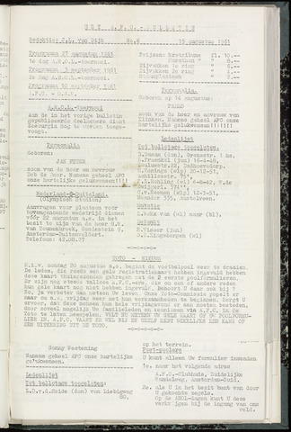 Bulletins (vnl. opstellingen) 1961-08-15