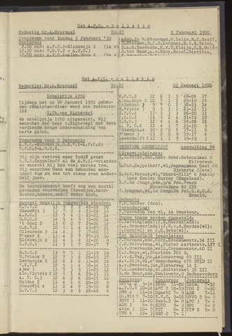 Bulletins (vnl. opstellingen) 1950-01-25