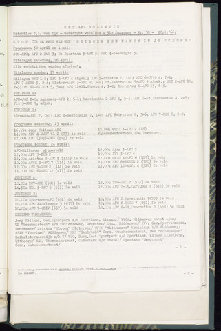 Bulletins (vnl. opstellingen) 1966-04-20
