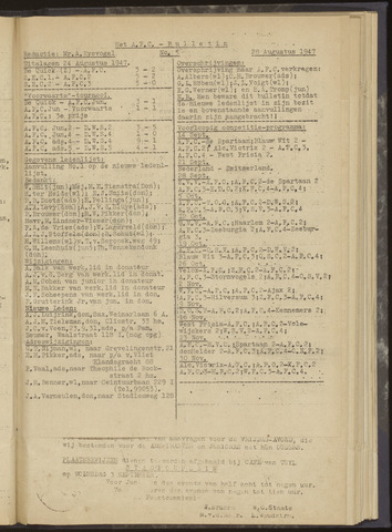 Bulletins (vnl. opstellingen) 1947-08-28