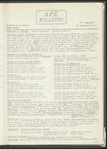 Bulletins (vnl. opstellingen) 1974-09-25