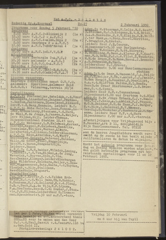 Bulletins (vnl. opstellingen) 1950-02-02