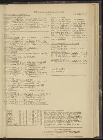 Bulletins (vnl. opstellingen) 1947-07-18