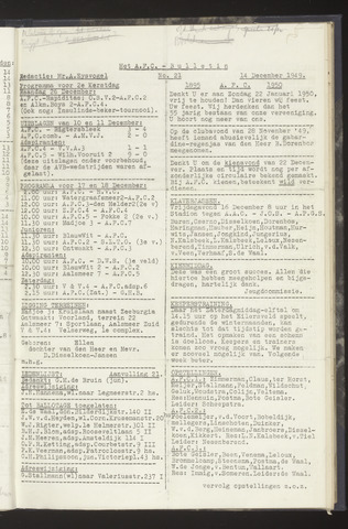 Bulletins (vnl. opstellingen) 1949-12-14