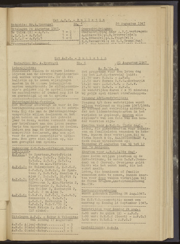 Bulletins (vnl. opstellingen) 1947-08-21