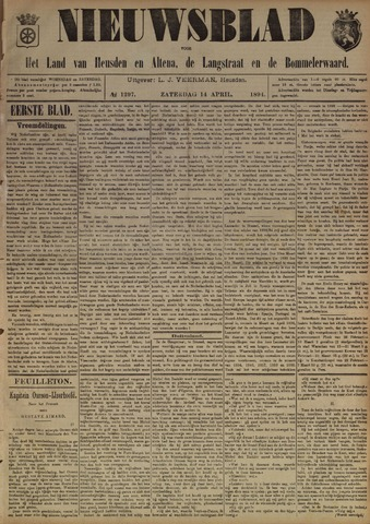 Nieuwsblad het land van Heusden en Altena de Langstraat en de Bommelerwaard 1894-04-14