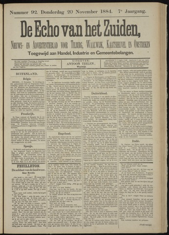 Echo van het Zuiden 1884-11-20