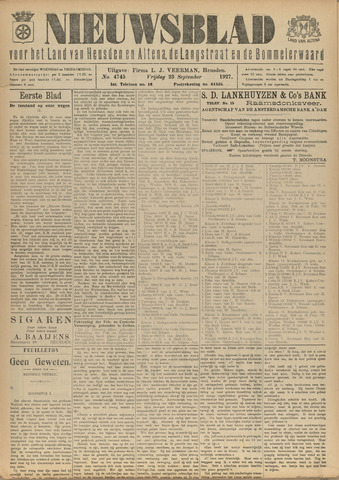 Nieuwsblad het land van Heusden en Altena de Langstraat en de Bommelerwaard 1927-09-23