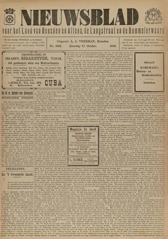 Nieuwsblad het land van Heusden en Altena de Langstraat en de Bommelerwaard 1919-10-11