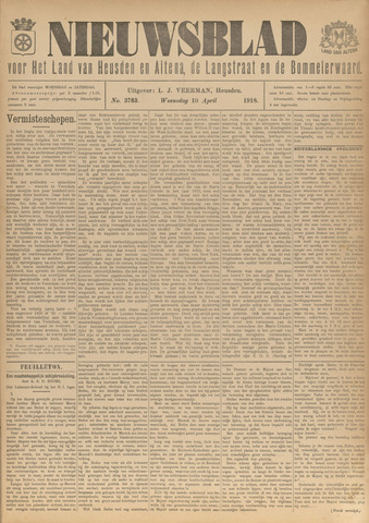 Nieuwsblad het land van Heusden en Altena de Langstraat en de Bommelerwaard 1918-04-10