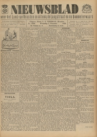 Nieuwsblad het land van Heusden en Altena de Langstraat en de Bommelerwaard 1922-11-01