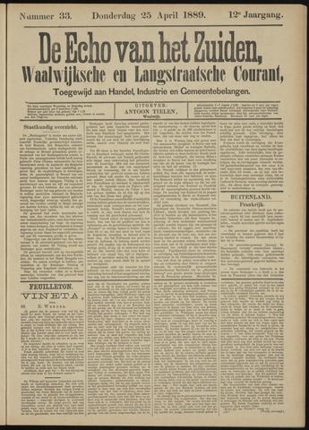 Echo van het Zuiden 1889-04-25