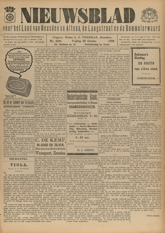Nieuwsblad het land van Heusden en Altena de Langstraat en de Bommelerwaard 1922-10-20