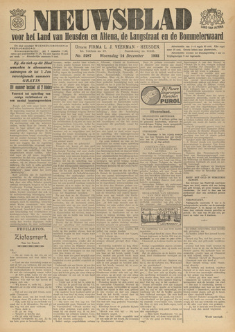 Nieuwsblad het land van Heusden en Altena de Langstraat en de Bommelerwaard 1932-12-14