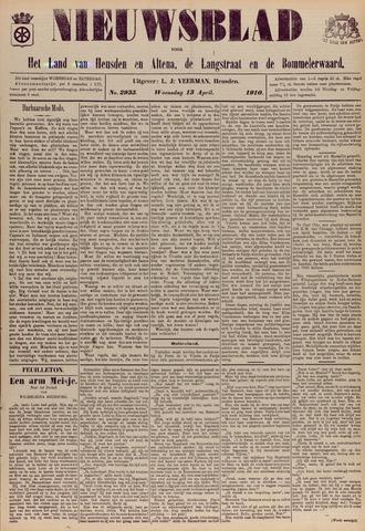 Nieuwsblad het land van Heusden en Altena de Langstraat en de Bommelerwaard 1910-04-13