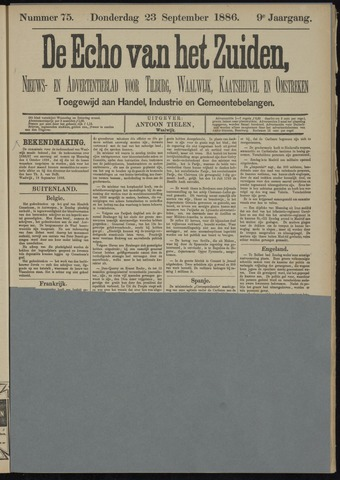 Echo van het Zuiden 1886-09-23