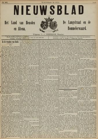 Nieuwsblad het land van Heusden en Altena de Langstraat en de Bommelerwaard 1890-07-16